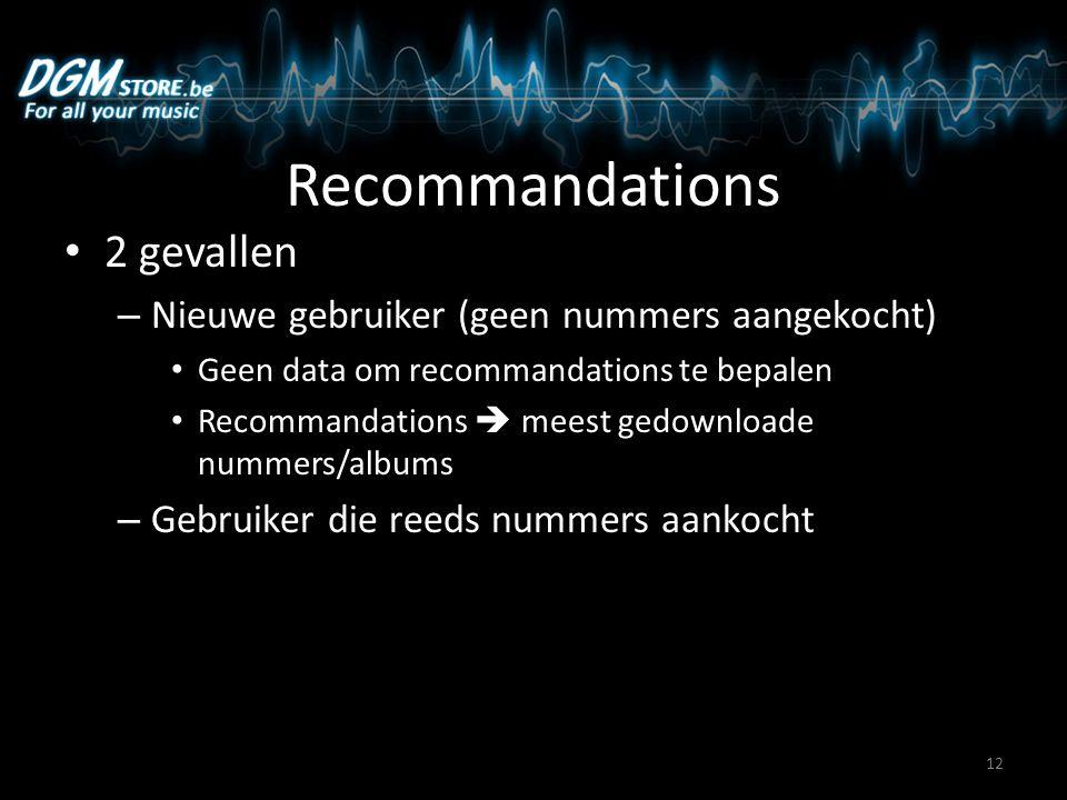 Recommandations 2 gevallen – Nieuwe gebruiker (geen nummers aangekocht) Geen data om recommandations te bepalen Recommandations  meest gedownloade nummers/albums – Gebruiker die reeds nummers aankocht 12