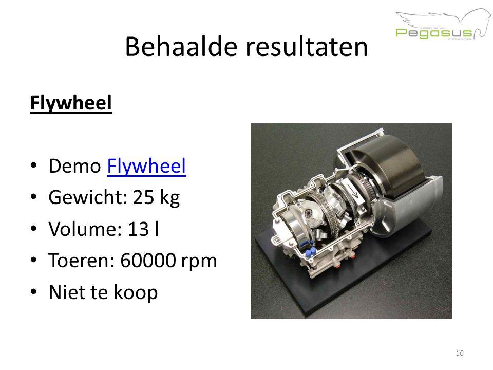 Behaalde resultaten Flywheel Demo FlywheelFlywheel Gewicht: 25 kg Volume: 13 l Toeren: 60000 rpm Niet te koop 16
