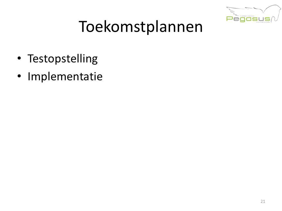 Toekomstplannen Testopstelling Implementatie 21