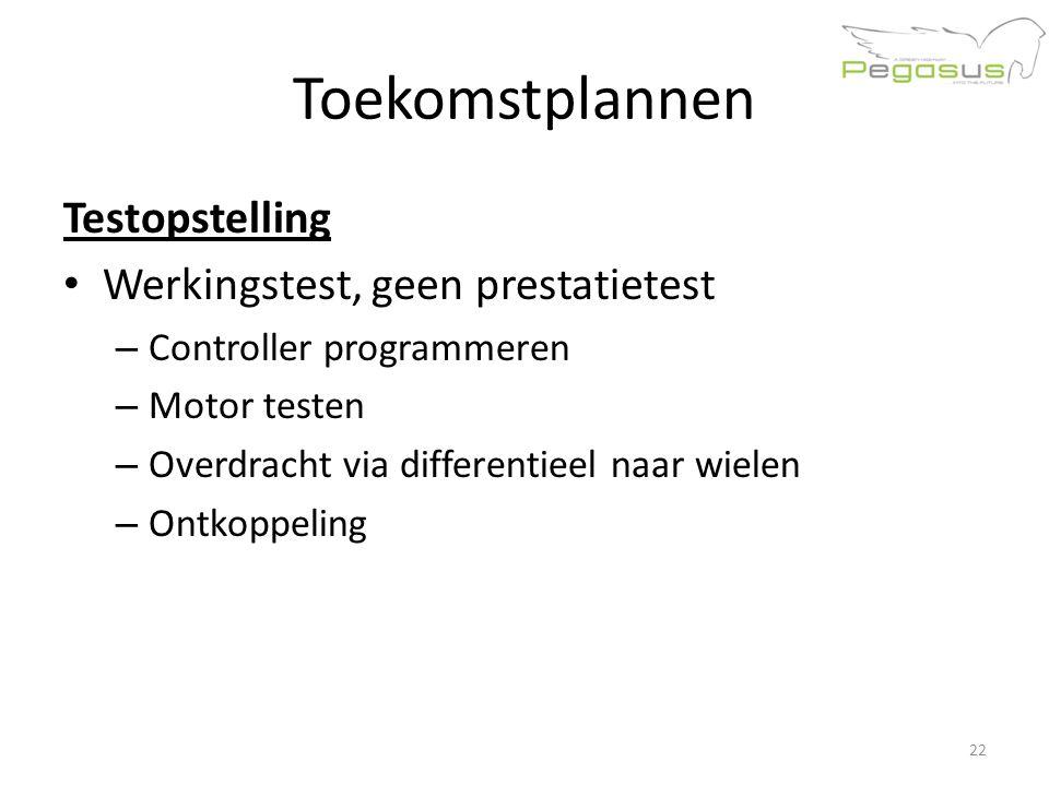 Toekomstplannen Testopstelling Werkingstest, geen prestatietest – Controller programmeren – Motor testen – Overdracht via differentieel naar wielen – Ontkoppeling 22
