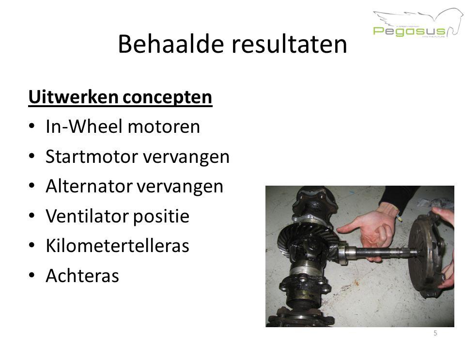 Behaalde resultaten Uitwerken concepten In-Wheel motoren Startmotor vervangen Alternator vervangen Ventilator positie Kilometertelleras Achteras 5
