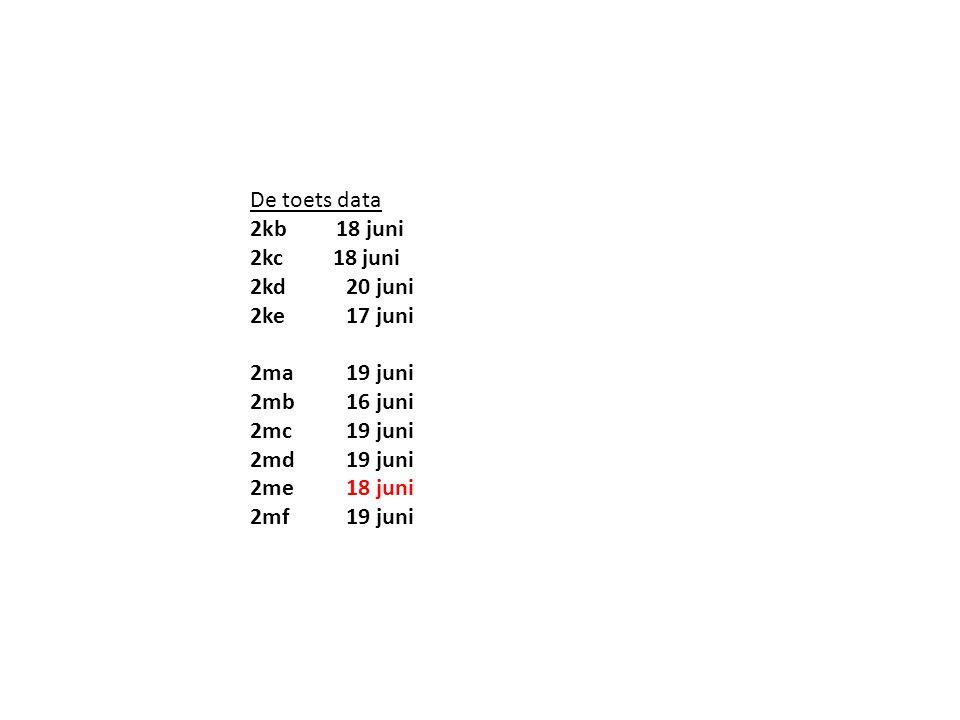 De toets data 2kb 18 juni 2kc 18 juni 2kd20 juni 2ke17 juni 2ma19 juni 2mb16 juni 2mc19 juni 2md19 juni 2me18 juni 2mf19 juni