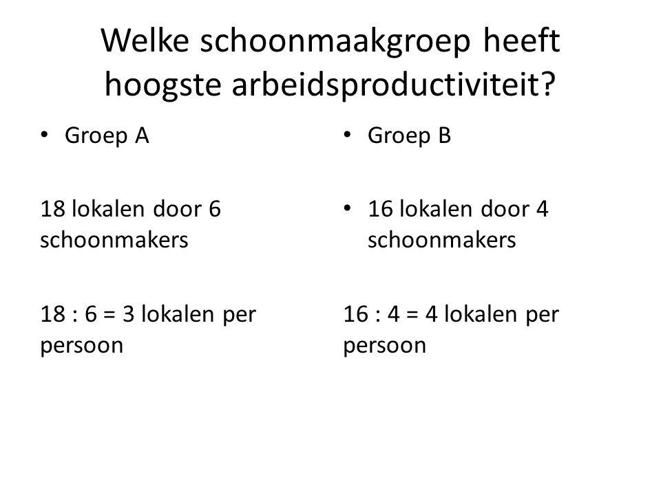 Welke schoonmaakgroep heeft hoogste arbeidsproductiviteit? Groep A 18 lokalen door 6 schoonmakers 18 : 6 = 3 lokalen per persoon Groep B 16 lokalen do