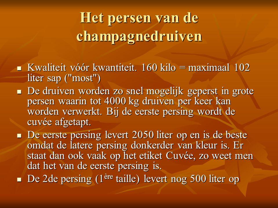 Het persen van de champagnedruiven Kwaliteit vóór kwantiteit. 160 kilo = maximaal 102 liter sap (
