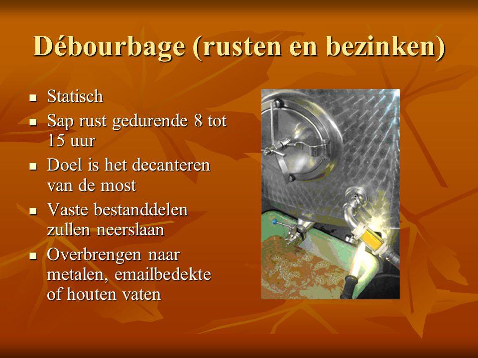 Débourbage (rusten en bezinken) Statisch Statisch Sap rust gedurende 8 tot 15 uur Sap rust gedurende 8 tot 15 uur Doel is het decanteren van de most D