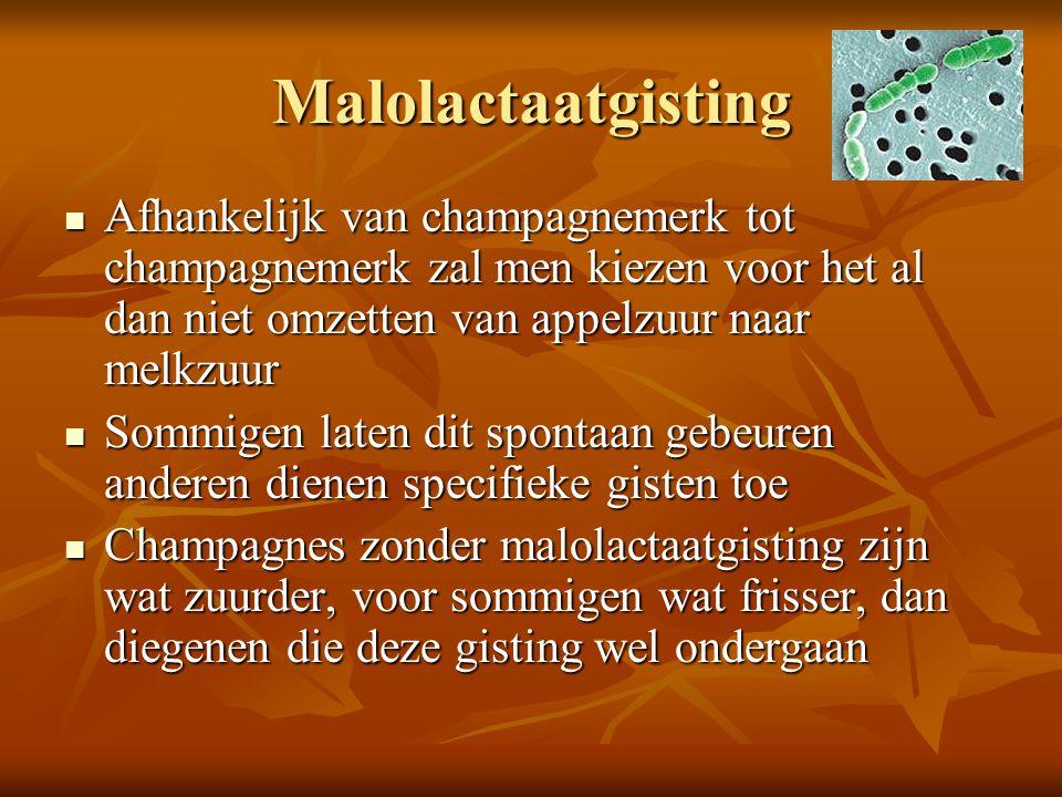 Malolactaatgisting Afhankelijk van champagnemerk tot champagnemerk zal men kiezen voor het al dan niet omzetten van appelzuur naar melkzuur Afhankelij