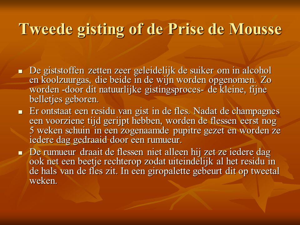 Tweede gisting of de Prise de Mousse De giststoffen zetten zeer geleidelijk de suiker om in alcohol en koolzuurgas, die beide in de wijn worden opgeno