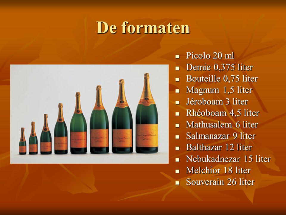 De formaten Picolo 20 ml Picolo 20 ml Demie 0,375 liter Demie 0,375 liter Bouteille 0,75 liter Bouteille 0,75 liter Magnum 1,5 liter Magnum 1,5 liter