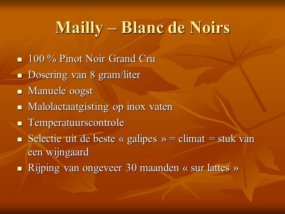 Mailly – Blanc de Noirs 100 % Pinot Noir Grand Cru 100 % Pinot Noir Grand Cru Dosering van 8 gram/liter Dosering van 8 gram/liter Manuele oogst Manuel