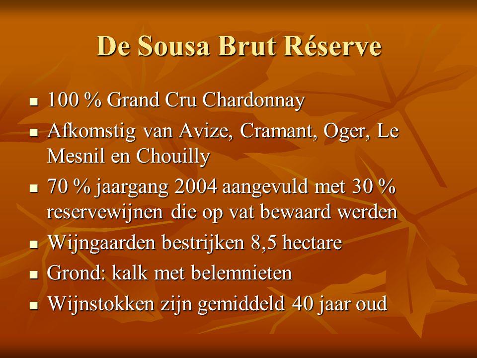 De Sousa Brut Réserve 100 % Grand Cru Chardonnay 100 % Grand Cru Chardonnay Afkomstig van Avize, Cramant, Oger, Le Mesnil en Chouilly Afkomstig van Av