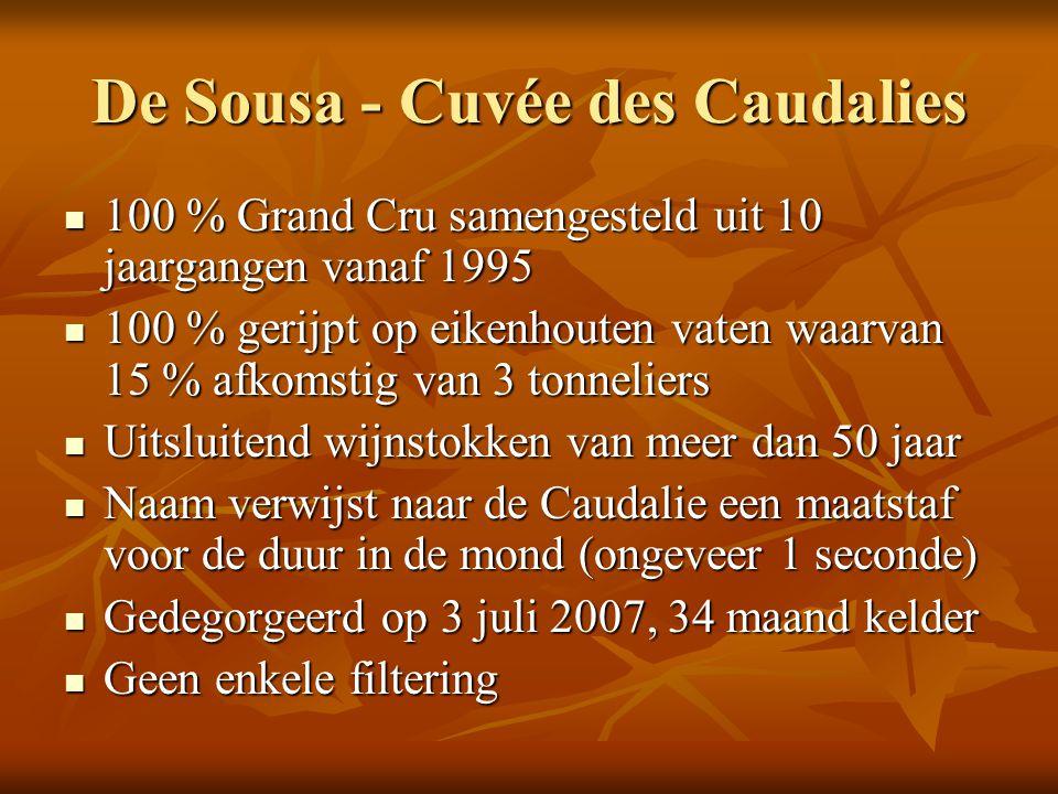 De Sousa - Cuvée des Caudalies 100 % Grand Cru samengesteld uit 10 jaargangen vanaf 1995 100 % Grand Cru samengesteld uit 10 jaargangen vanaf 1995 100