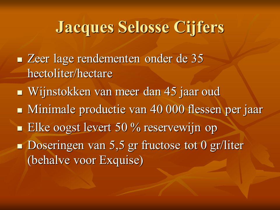 Jacques Selosse Cijfers Zeer lage rendementen onder de 35 hectoliter/hectare Zeer lage rendementen onder de 35 hectoliter/hectare Wijnstokken van meer