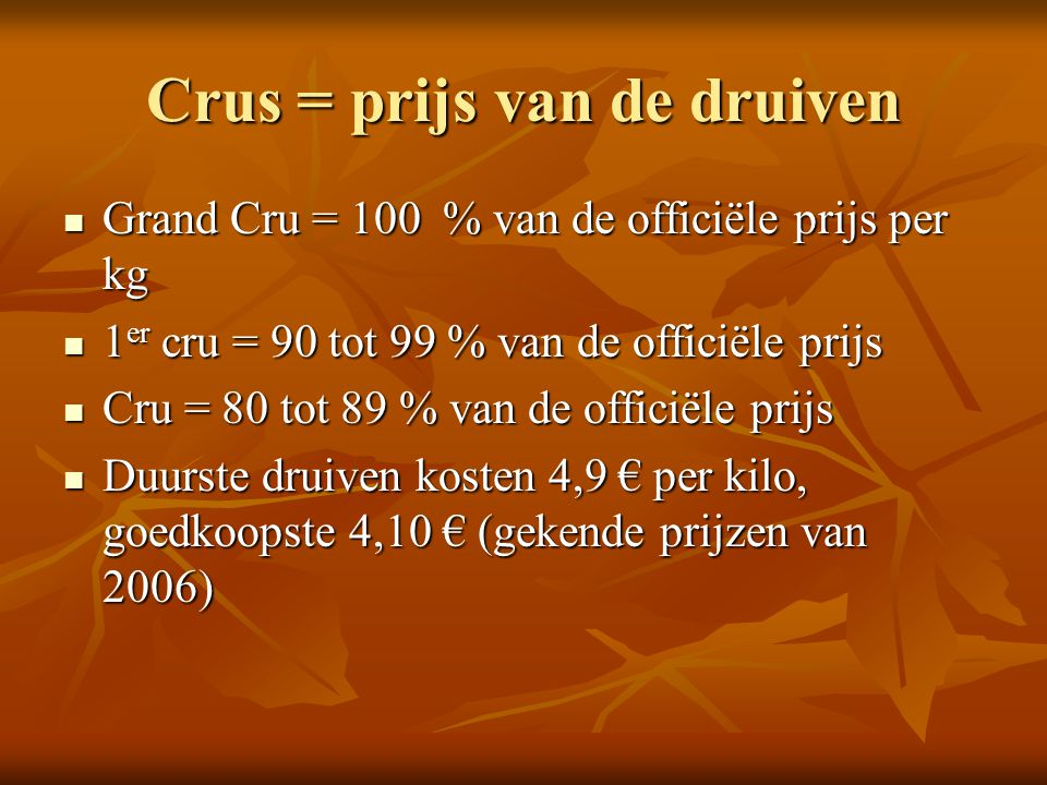 Crus = prijs van de druiven Grand Cru = 100 % van de officiële prijs per kg Grand Cru = 100 % van de officiële prijs per kg 1 er cru = 90 tot 99 % van
