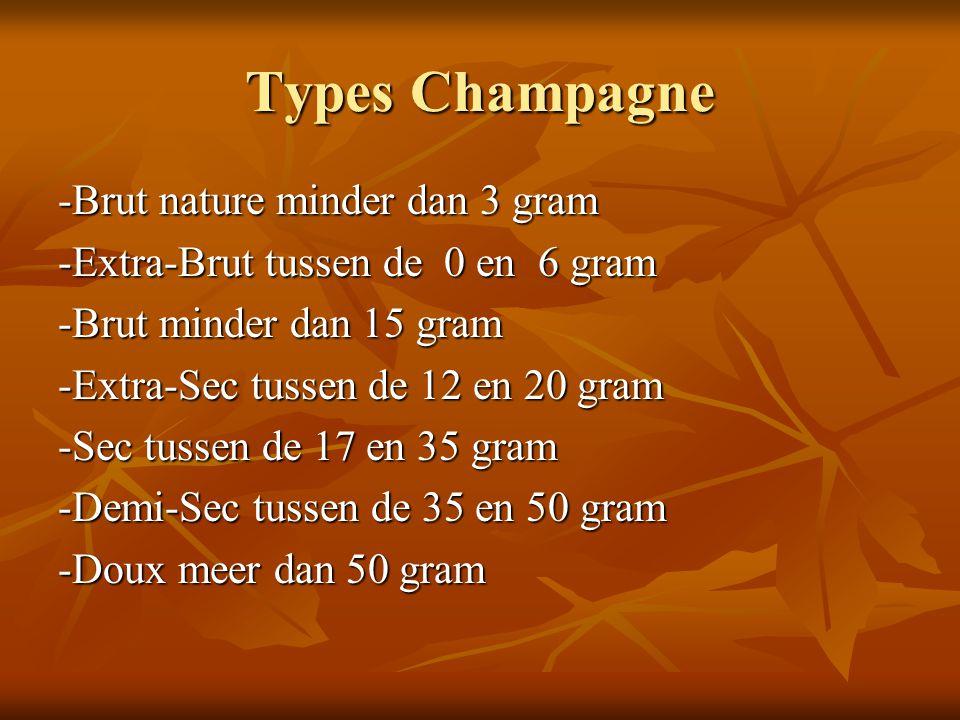 Types Champagne -Brut nature minder dan 3 gram -Brut nature minder dan 3 gram -Extra-Brut tussen de 0 en 6 gram -Brut minder dan 15 gram -Brut minder