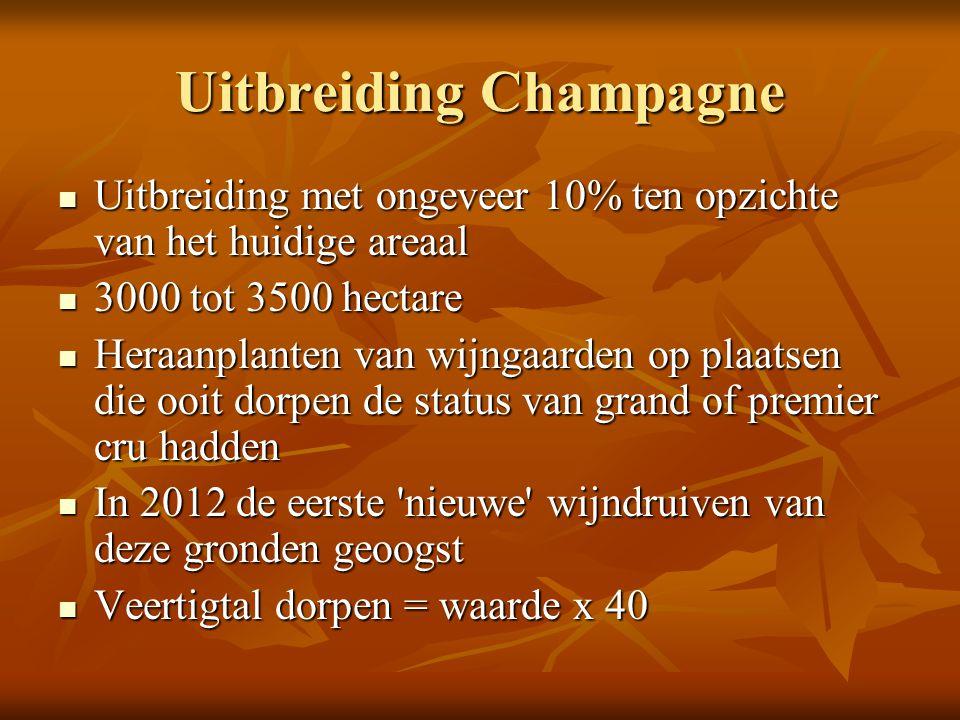 Uitbreiding Champagne Uitbreiding met ongeveer 10% ten opzichte van het huidige areaal Uitbreiding met ongeveer 10% ten opzichte van het huidige areaa