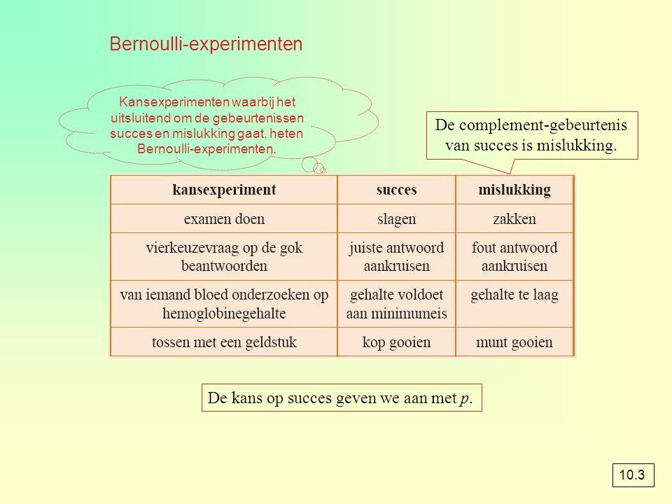 Bernoulli-experimenten De complement-gebeurtenis van succes is mislukking. De kans op succes geven we aan met p. Kansexperimenten waarbij het uitsluit