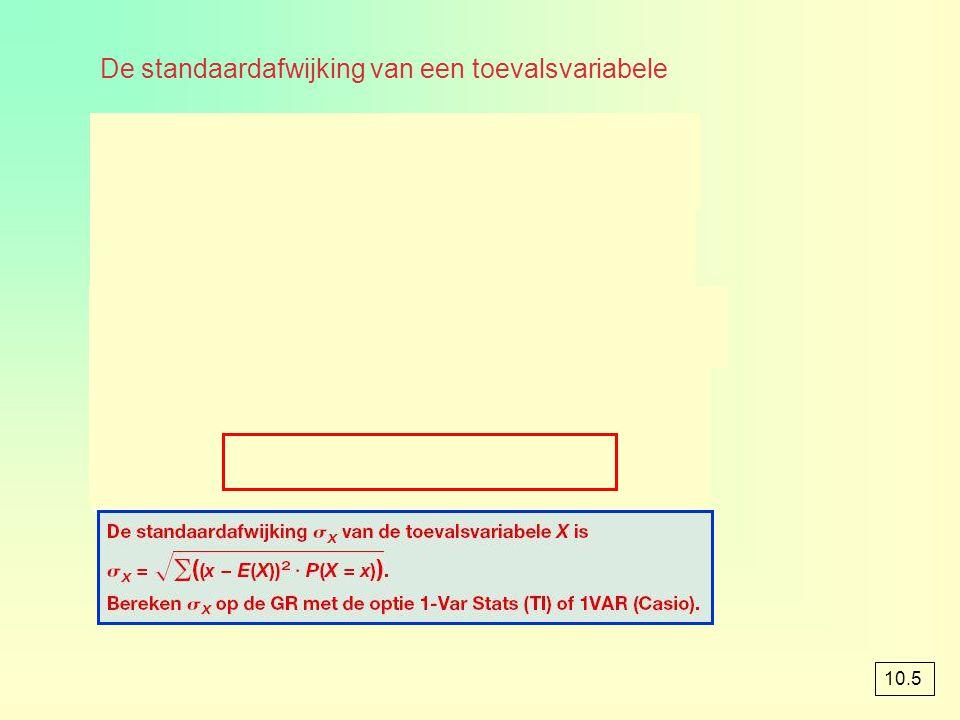 De standaardafwijking van een toevalsvariabele 10.5