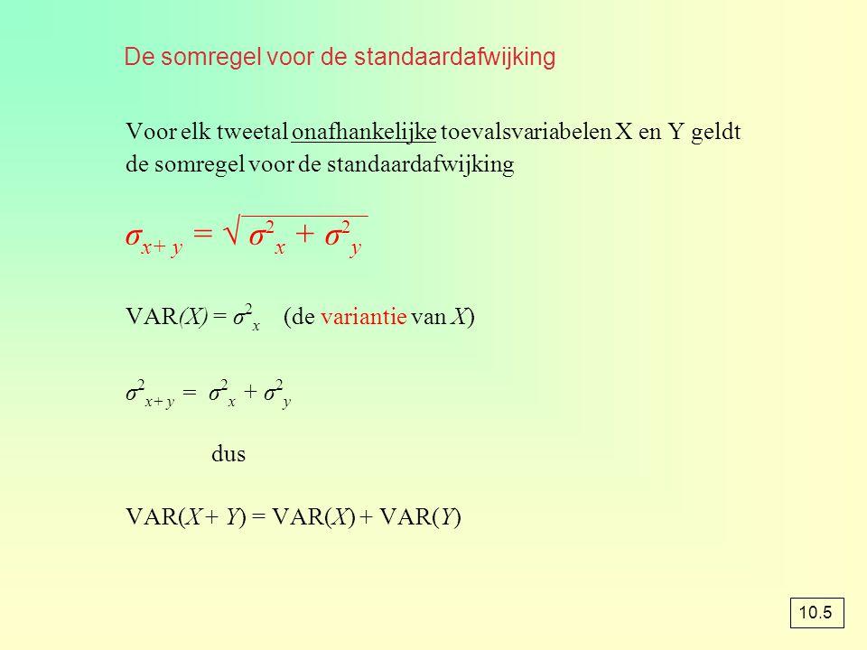 De somregel voor de standaardafwijking Voor elk tweetal onafhankelijke toevalsvariabelen X en Y geldt de somregel voor de standaardafwijking σ x+ y =