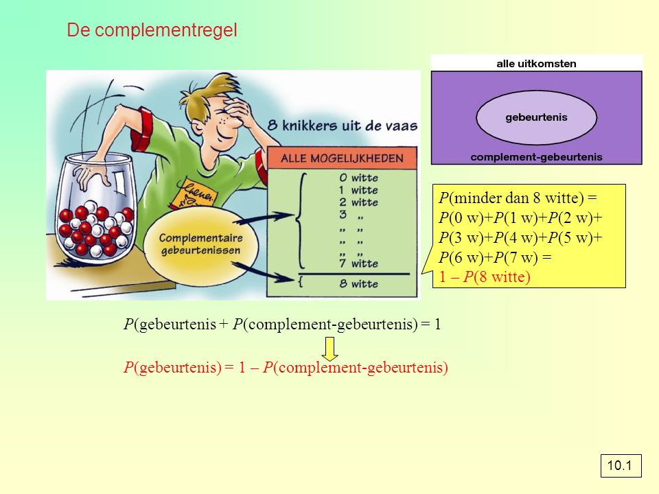 De notaties binompdf(n, p, k) en binomcdf(n, p, k) 10.3