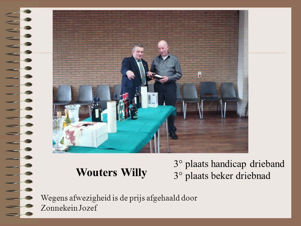 3° plaats handicap drieband 3° plaats beker driebnad Wouters Willy Wegens afwezigheid is de prijs afgehaald door Zonnekein Jozef