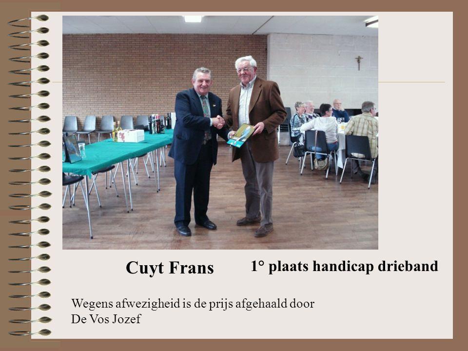 1° plaats handicap drieband Cuyt Frans Wegens afwezigheid is de prijs afgehaald door De Vos Jozef