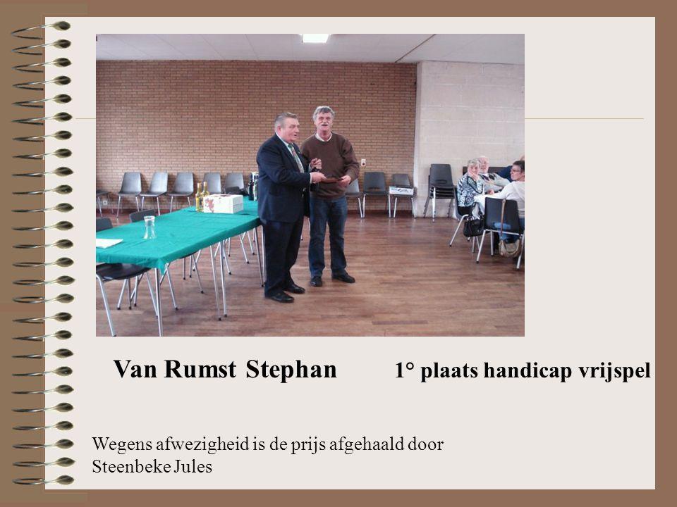 Van Rumst Stephan 1° plaats handicap vrijspel Wegens afwezigheid is de prijs afgehaald door Steenbeke Jules