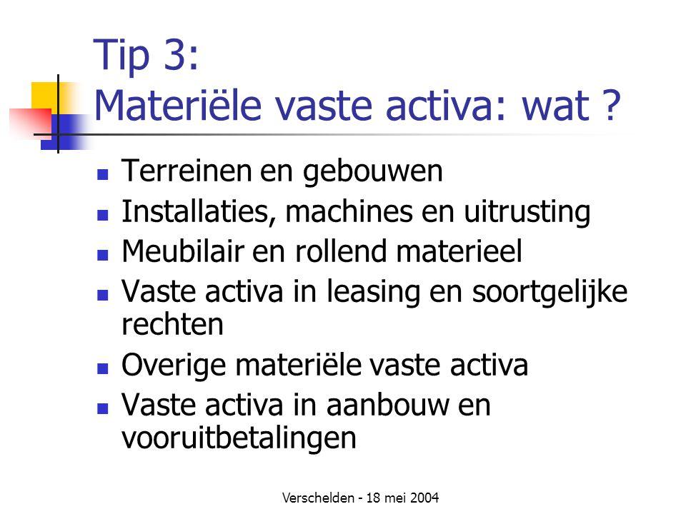 Verschelden - 18 mei 2004 Tip 3: Materiële vaste activa: wat .