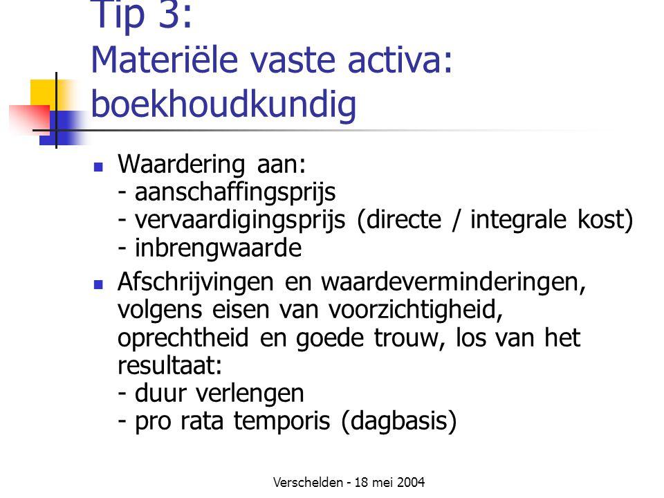 Verschelden - 18 mei 2004 Tip 3: Materiële vaste activa: boekhoudkundig Waardering aan: - aanschaffingsprijs - vervaardigingsprijs (directe / integrale kost) - inbrengwaarde Afschrijvingen en waardeverminderingen, volgens eisen van voorzichtigheid, oprechtheid en goede trouw, los van het resultaat: - duur verlengen - pro rata temporis (dagbasis)