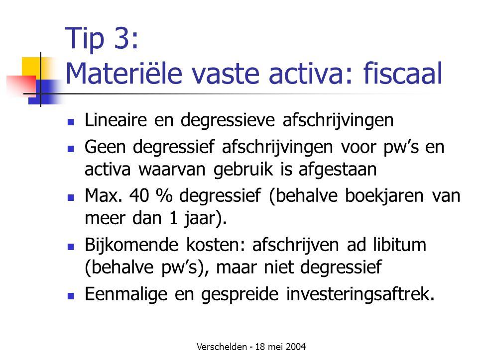 Verschelden - 18 mei 2004 Tip 3: Materiële vaste activa: fiscaal Lineaire en degressieve afschrijvingen Geen degressief afschrijvingen voor pw's en activa waarvan gebruik is afgestaan Max.