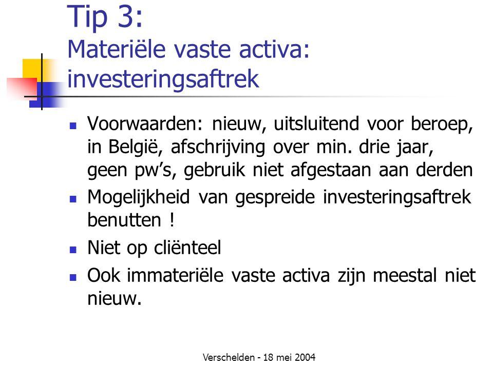 Verschelden - 18 mei 2004 Tip 3: Materiële vaste activa: investeringsaftrek Voorwaarden: nieuw, uitsluitend voor beroep, in België, afschrijving over min.