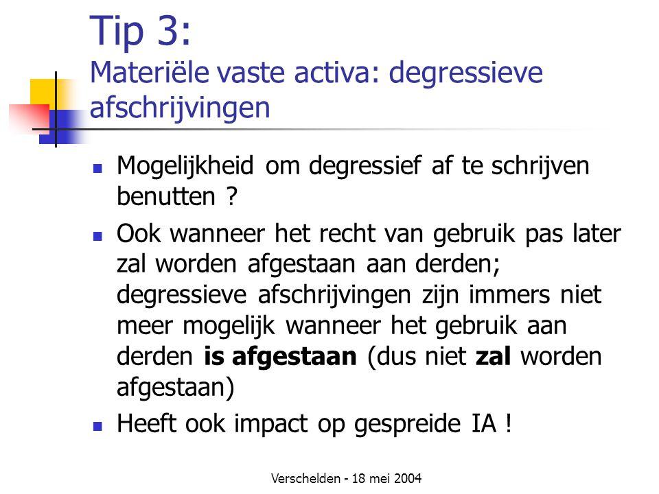 Verschelden - 18 mei 2004 Tip 3: Materiële vaste activa: degressieve afschrijvingen Mogelijkheid om degressief af te schrijven benutten .