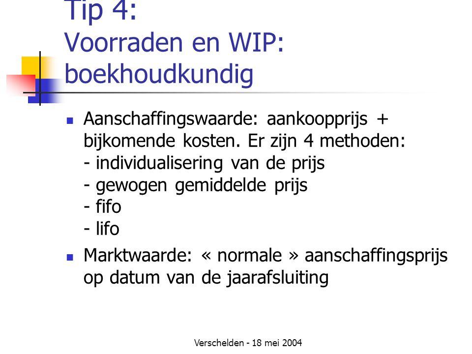 Verschelden - 18 mei 2004 Tip 4: Voorraden en WIP: boekhoudkundig Aanschaffingswaarde: aankoopprijs + bijkomende kosten.