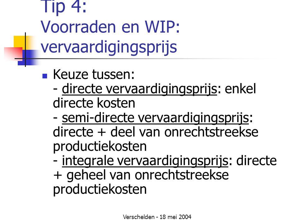 Verschelden - 18 mei 2004 Tip 4: Voorraden en WIP: vervaardigingsprijs Keuze tussen: - directe vervaardigingsprijs: enkel directe kosten - semi-directe vervaardigingsprijs: directe + deel van onrechtstreekse productiekosten - integrale vervaardigingsprijs: directe + geheel van onrechtstreekse productiekosten