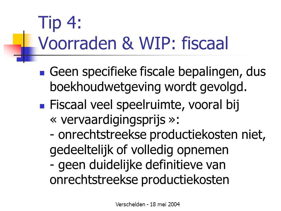 Verschelden - 18 mei 2004 Tip 4: Voorraden & WIP: fiscaal Geen specifieke fiscale bepalingen, dus boekhoudwetgeving wordt gevolgd.