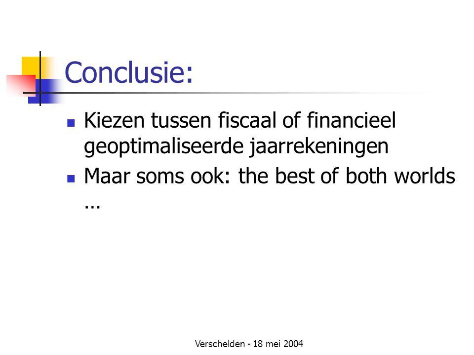 Verschelden - 18 mei 2004 Conclusie: Kiezen tussen fiscaal of financieel geoptimaliseerde jaarrekeningen Maar soms ook: the best of both worlds …