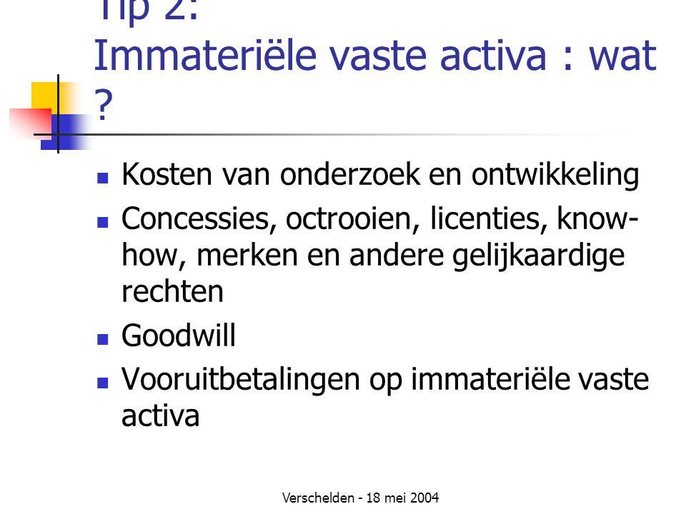 Verschelden - 18 mei 2004 Tip 2: Immateriële vaste activa : wat .