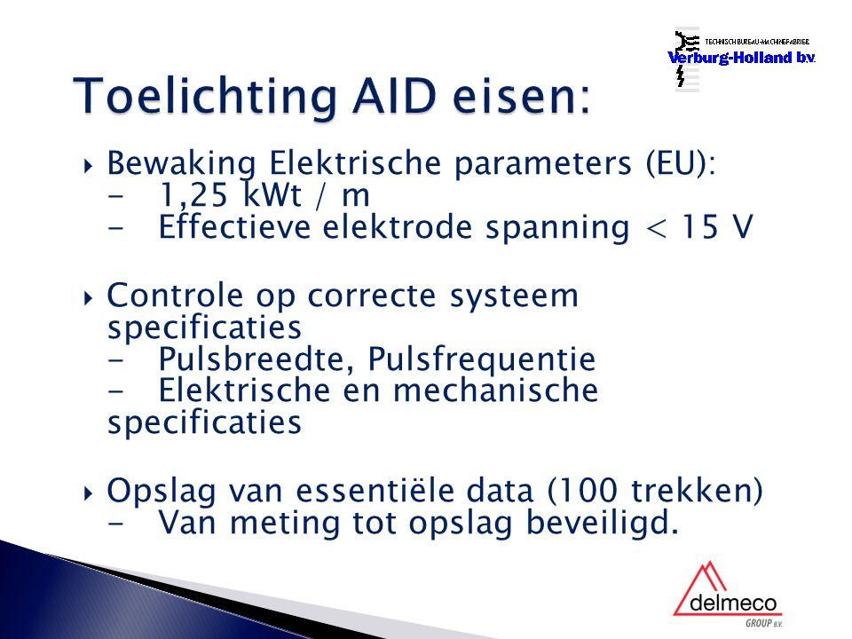 Bewaking Elektrische parameters (EU): -1,25 kWt / m -Effectieve elektrode spanning < 15 V  Controle op correcte systeem specificaties -Pulsbreedte, Pulsfrequentie -Elektrische en mechanische specificaties  Opslag van essentiële data (100 trekken) -Van meting tot opslag beveiligd.