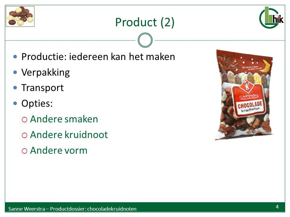 Product (2) Productie: iedereen kan het maken Verpakking Transport Opties:  Andere smaken  Andere kruidnoot  Andere vorm Sanne Weerstra – Productdo