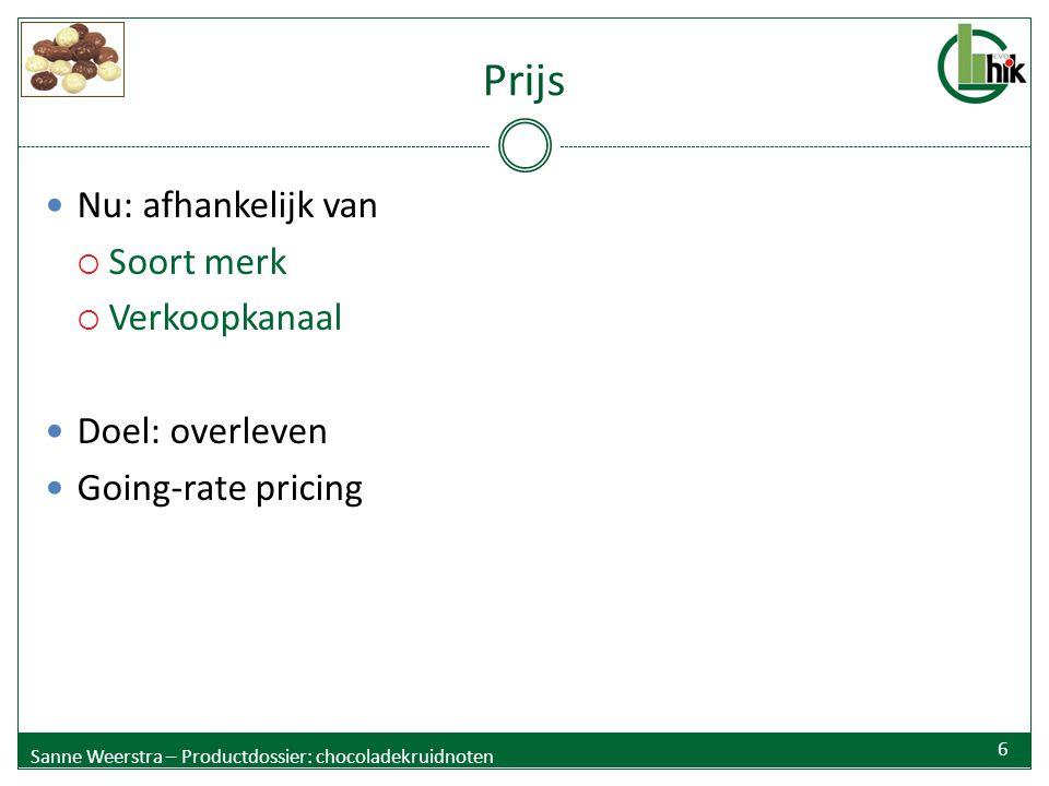 Prijs Nu: afhankelijk van  Soort merk  Verkoopkanaal Doel: overleven Going-rate pricing Sanne Weerstra – Productdossier: chocoladekruidnoten 6