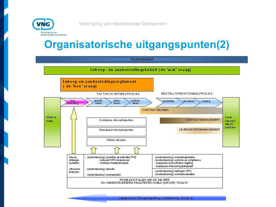 Vereniging van Nederlandse Gemeenten Organisatorische uitgangspunten(2)