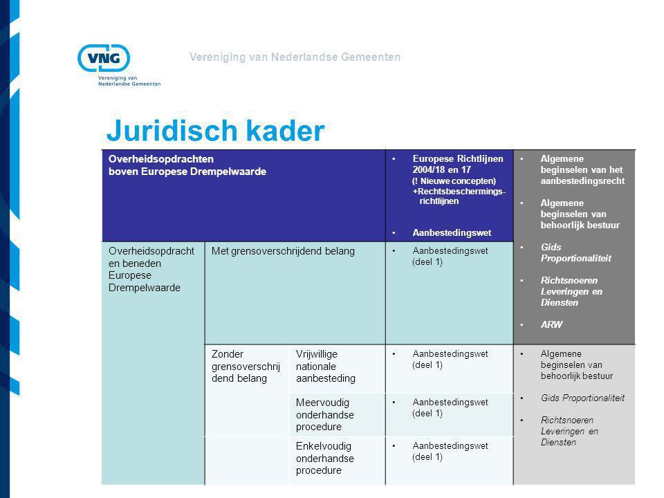Vereniging van Nederlandse Gemeenten Juridisch kader Overheidsopdrachten boven Europese Drempelwaarde Europese Richtlijnen 2004/18 en 17 (! Nieuwe con