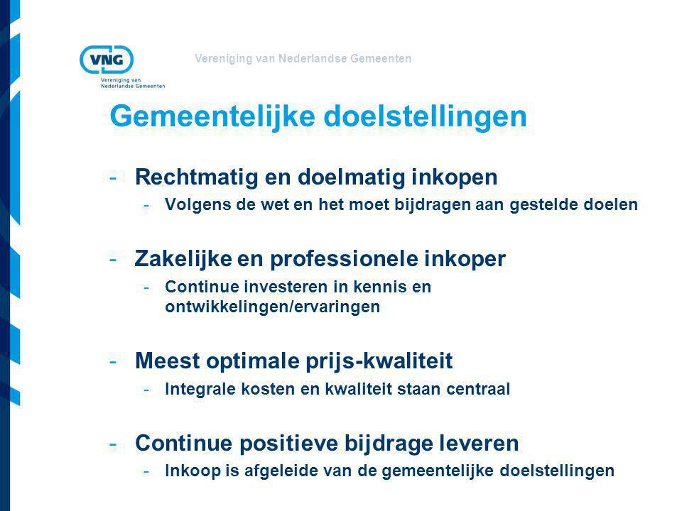 Vereniging van Nederlandse Gemeenten Gemeentelijke doelstellingen -Rechtmatig en doelmatig inkopen -Volgens de wet en het moet bijdragen aan gestelde