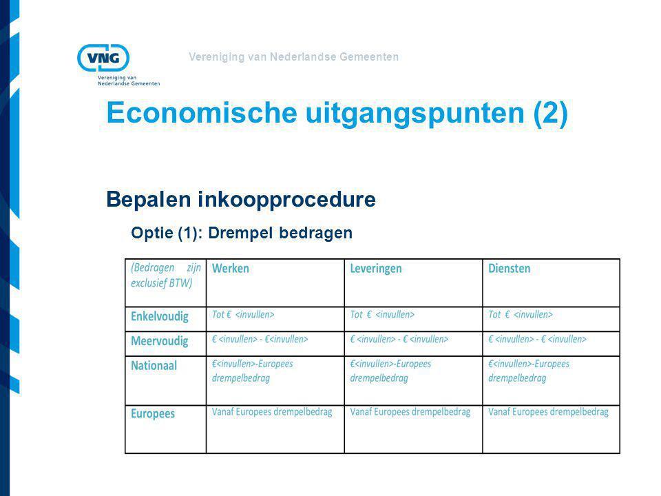 Vereniging van Nederlandse Gemeenten Economische uitgangspunten (2) Bepalen inkoopprocedure Optie (1): Drempel bedragen