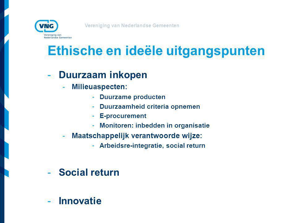 Vereniging van Nederlandse Gemeenten Ethische en ideële uitgangspunten -Duurzaam inkopen -Milieuaspecten: -Duurzame producten -Duurzaamheid criteria o