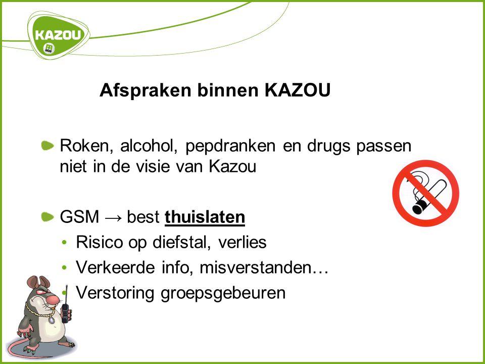 Afspraken binnen KAZOU Roken, alcohol, pepdranken en drugs passen niet in de visie van Kazou GSM → best thuislaten Risico op diefstal, verlies Verkeerde info, misverstanden… Verstoring groepsgebeuren