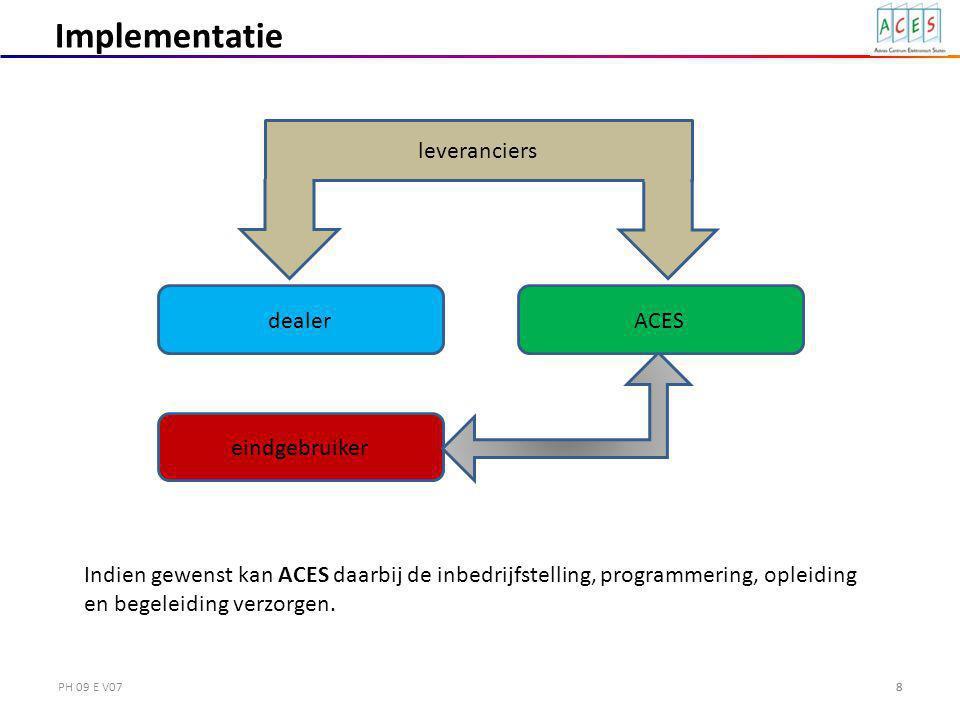 PH 09 E V078 eindgebruiker leveranciers Implementatie dealer Indien gewenst kan ACES daarbij de inbedrijfstelling, programmering, opleiding en begeleiding verzorgen.