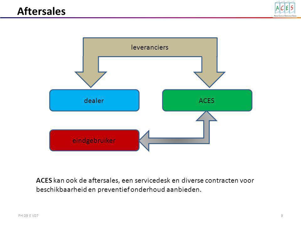 PH 09 E V079 eindgebruiker leveranciers Aftersales dealer ACES kan ook de aftersales, een servicedesk en diverse contracten voor beschikbaarheid en preventief onderhoud aanbieden.