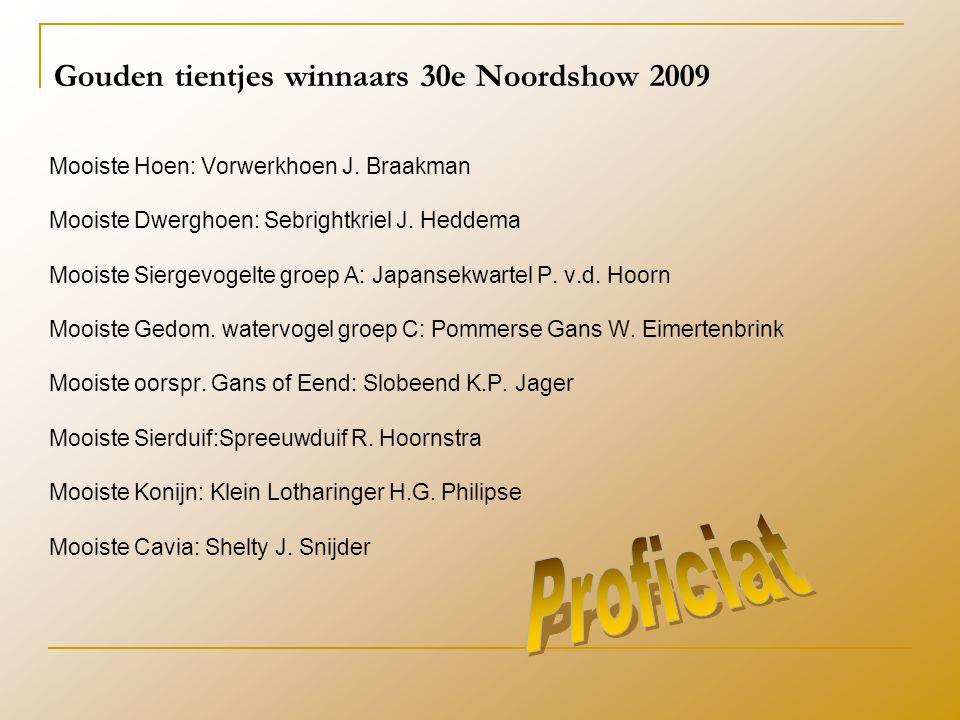 Gouden tientjes winnaars 30e Noordshow 2009 Mooiste Hoen: Vorwerkhoen J.