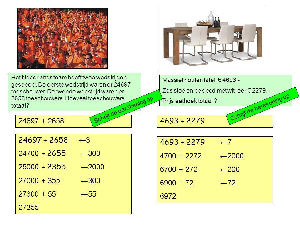 4693 + 2279 24697 + 2658 Het Nederlands team heeft twee wedstrijden gespeeld.