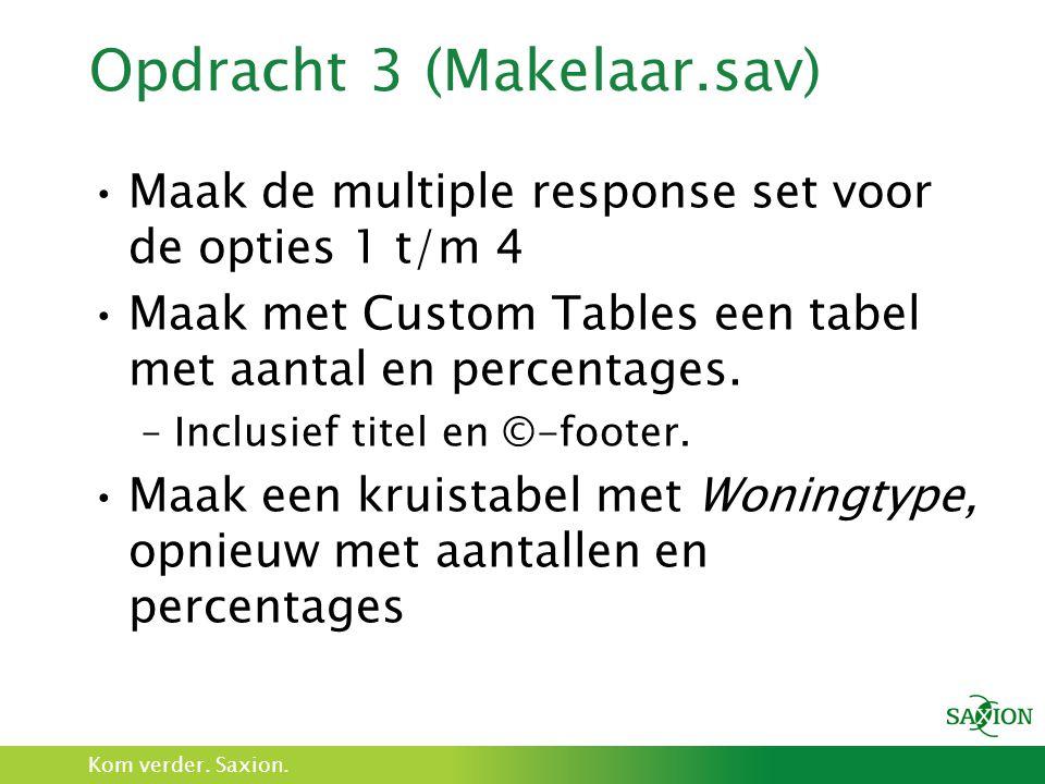 Kom verder. Saxion. Opdracht 3 (Makelaar.sav) Maak de multiple response set voor de opties 1 t/m 4 Maak met Custom Tables een tabel met aantal en perc